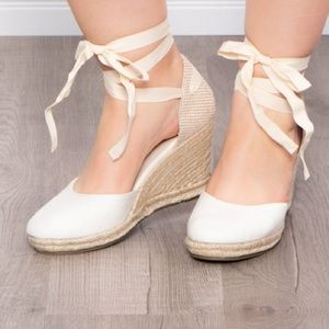 Bamboo wedges lace up heeled woman's shoes 8
